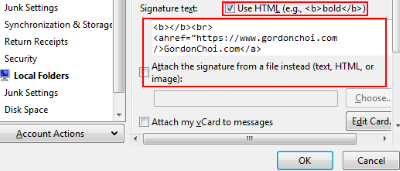 Thunderbird create HTML signature